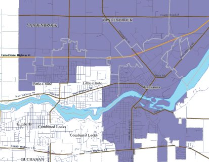 Map of Senate District 2 in the Little Chute and Kaukauna area
